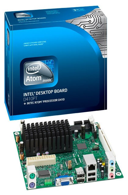 Мат.плата Intel Original D410PT integrated AtomD410 NM10 DDRII mini-ITX SATA Audio+ LAN+VGA (bulk)